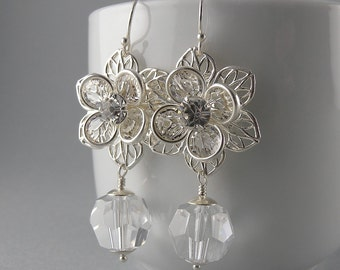 Crystal Clear Lily Flower Sterling Silver Earrings With Free USA Shipping