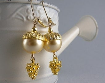 Golden Acorn and Pinecone Earrings with Free USA Shipping