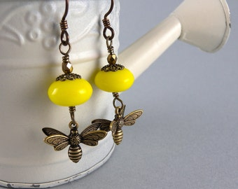 Yellow and Brass Flower Busy Bee Earrings with Free USA Shipping