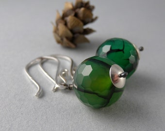 Green and Black Poison Ivy Sterling Silver Earrings with Free USA Shipping