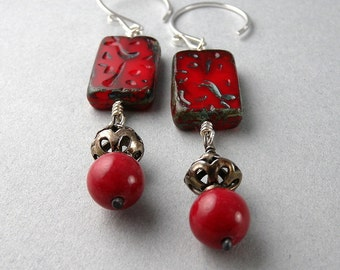 Red Lipstick and Sterling Silver Earrings with Free USA Shipping