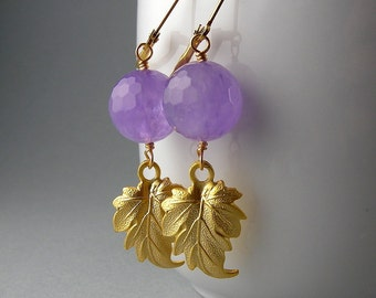 Gold Amethyst Feather Earrings with Free USA Shipping