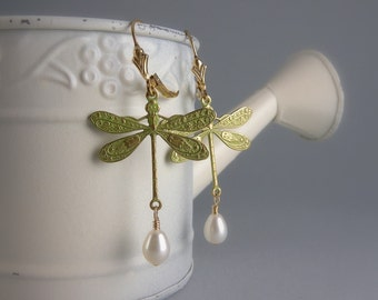 Green and Gold Shabby Chic Dragonfly Earrings with Free USA Shipping