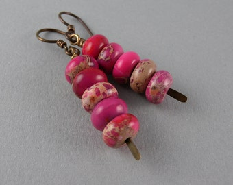 Wild PINK Leopard Stack Up Earrings with Free USA Shipping