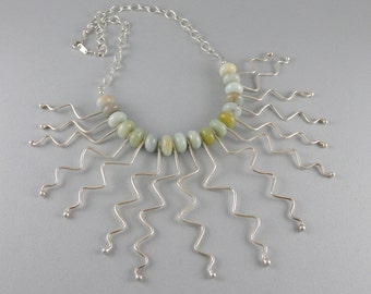 Amazonite Gemstone and Sterling Silver Zig Zag Bib Statement Necklace with Free Shipping -Seaweed