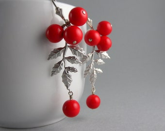 Silver Holly Berries Holiday Fashion Earrings with Free Shipping