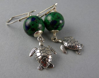 Green and Blue Sterling Silver Sea Turtle Earrings with Free USA Shipping