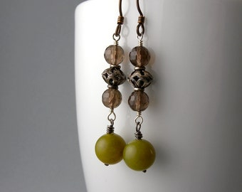 Martini Olives with Smoky Quartz and Olive Jade Earrings with Free Shipping
