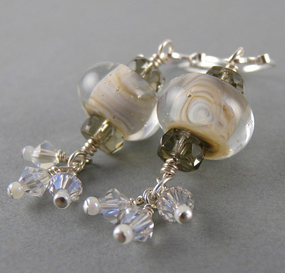 Air White and Tan Traditional Chinese New Year Lantern Earrings with Free USA Shipping