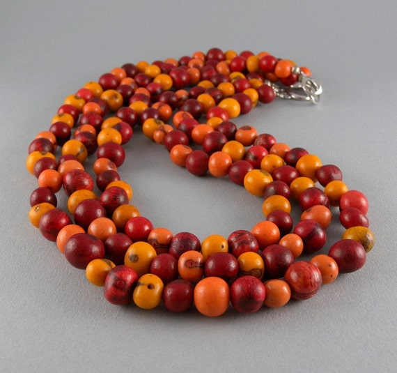 Shades of Fire Acai Seed Necklace with Free Shipping