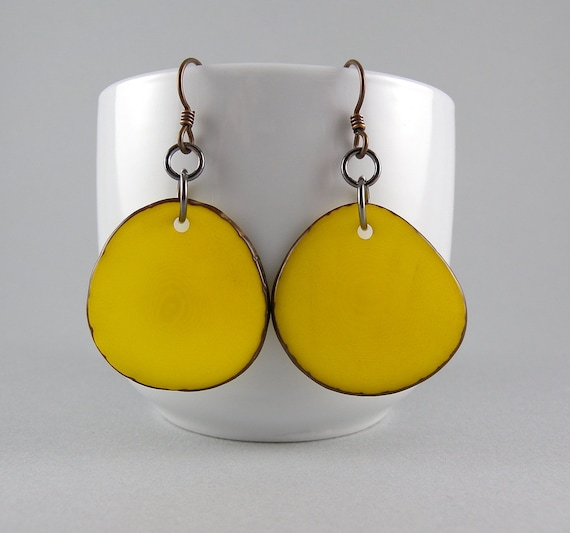 Banana Yellow Tagua Nut Eco Friendly Earrings with Free Shipping