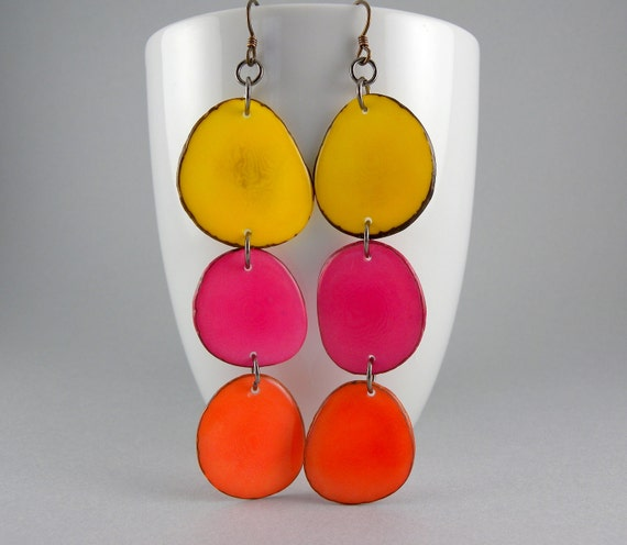 Pineapple Yellow, Honeysuckle Pink, and Cantaloupe Orange Shoulder Duster Trio of Tagua Nut Eco Friendly Earrings with Free Shipping