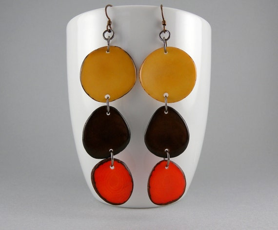 Suntan, Coffee, and Orange Shoulder Duster Trio of Tagua Nut Eco Friendly Earrings with Free Shipping