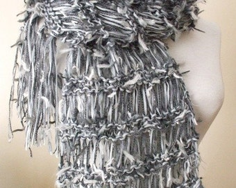 Knit Gray Scarf Knitted Luxury Scarf