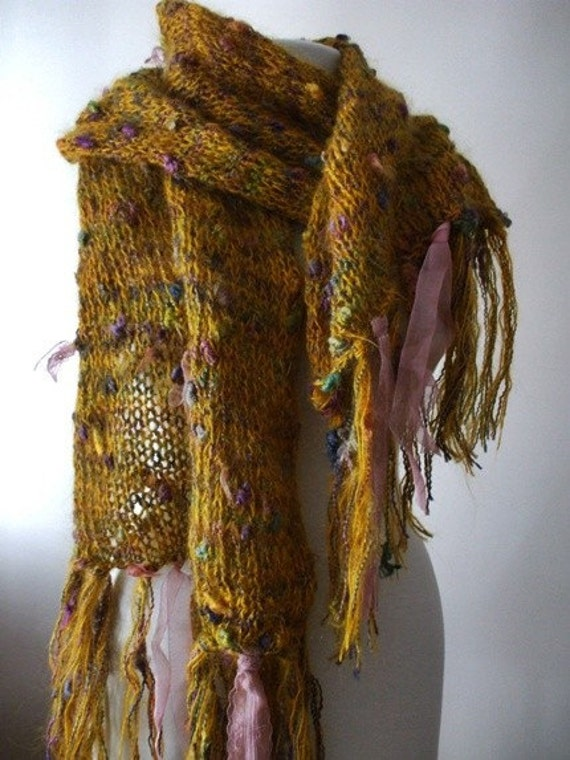 SALE  Knitted handmade sunflower scarf shawl  SALE