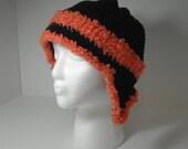 Crocheted Ear Flap Hat - Black and Orange - size Large