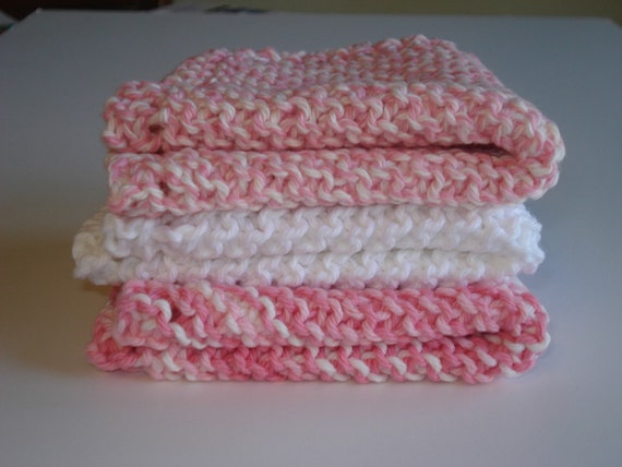 Pink and White Handknitted Dishcloths Washcloths - Set of 3