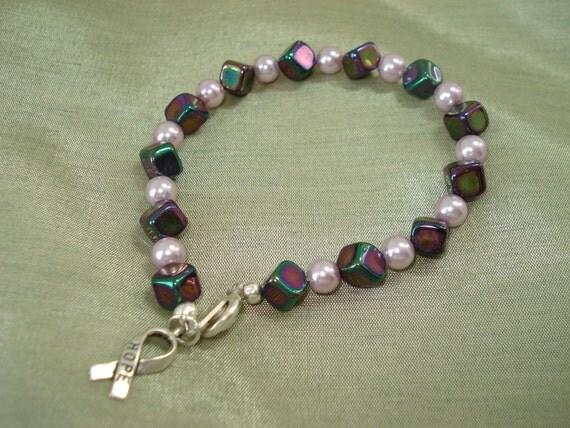 Purple and Pink Hope Beaded Bracelet