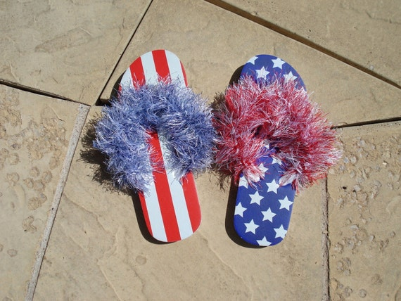 SALE - Red White and Blue Patriotic Furry Flip Flops Spa Sandals Size 5-6