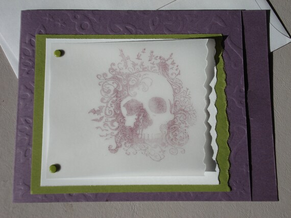 Off-Season Special - Halloween Greeting Card - Purple and Green and Skull