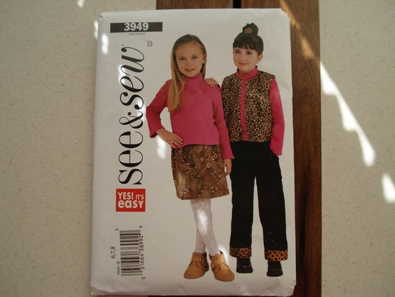 Girls Skirt Pants Vest Shirt Sewing Pattern sizes 6-8 Butterick See and Sew Uncut