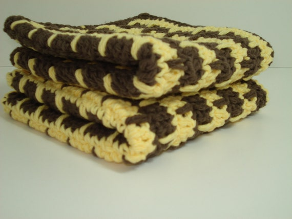 Crocheted Dishcloths - Yellow and Brown - Set of 2