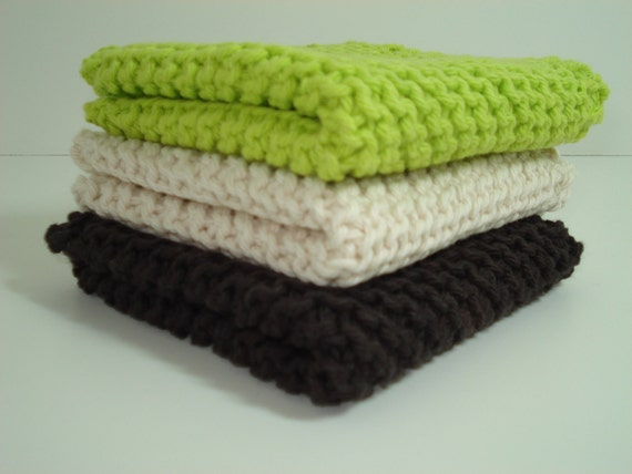 Wheat Brown and Lime Handknitted Dishcloths Washcloths - Set of 3
