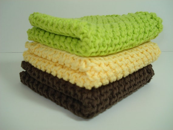 Yellow Brown and Lime  Handknitted Dishcloths Washcloths - Set of 3
