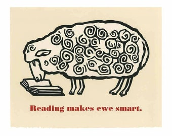 Smart sheep hand printed poster
