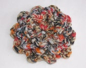 Blue Bells and Coral Shells Crocheted Flower Brooch with Gold Metallic Accent Thread