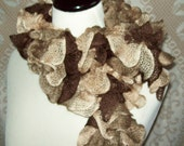 READY TO SHIP Ballerina Ruffle Scarf with yarn from Turkey in Brown Fawn Taupe Beige Chocolate Sand Almond