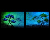 Modern Fantasy Art Print Set in Emerald and Sapphire - The Butterfly Tree 5 by Jaime Best