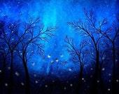 Blue Firefly Tree Print - Twilight by Jaime Best