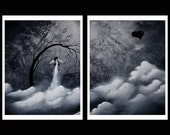B&W Cloud and Tree Print Set Sad Surreal - Heartache and Poetry 44 by Jaime Best