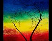 Original Tree Painting Rainbow Abstract Landscape - A Promise Made - by Jaime Best