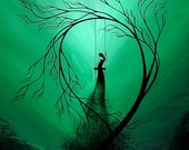 Fantasy Art Tree Print - Heartache and Poetry 59... by Jaime Best