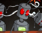 Drinking Robot Bar Comic Art Print - wtf by Mike Best
