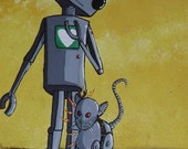 Robot and Animal Print - A Robot and his Cat by Mike Best