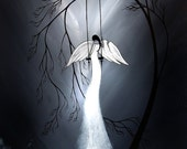 Black and White Print Dark Fantasy Art - Broken Wing by Jaime Best