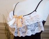 Brown and cream romantic lace ruffle bow tank vest lolita top