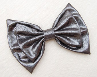 Shiny gunmetal grey faux leather giant gaga double hair bow