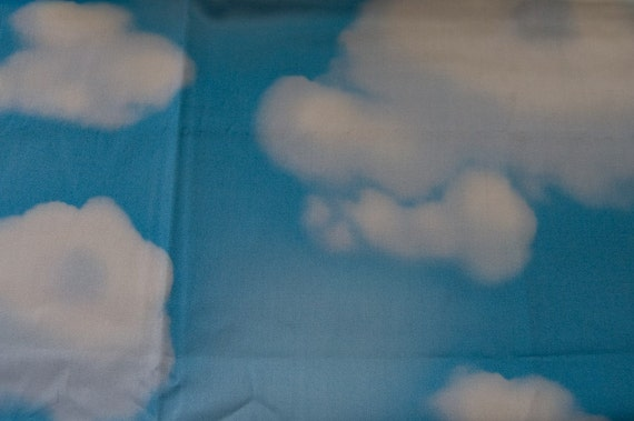 Kawaii blue cloud print fabric