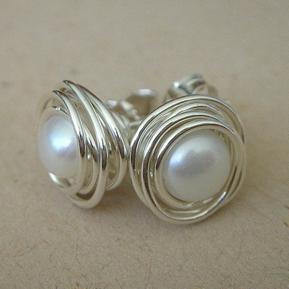 Small Sterling Silver White Freshwater Pearl Earring Studs