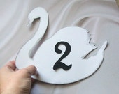 White and Silver Swan Table Number Signs or Cards (set of 10)
