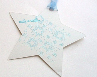 Wedding Wishing Tree Tags - Make a Wish Star in White with Blue (set of 50)