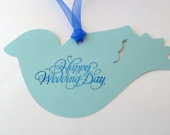 Wedding Wishing Tree Tags - Custom Cut Blue Bird or Dove (set of 50)