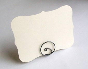 Small Placecard Holder - Gun Metal Grey Wire - Place Card Seating - Swirl (set of 10)