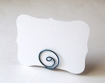 Small Placecard Holder - Dark Blue Wire - Place Card Seating - Swirl - Love Knot (set of 10)