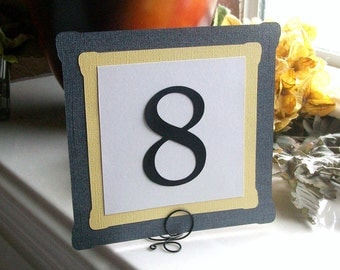 Grey and Yellow Table Number Signs or Cards (set of 10)
