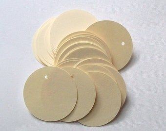 Round Die Cut Circle Tags with Holes - Ivory Card Stock Paper 2 inch (set of 80)